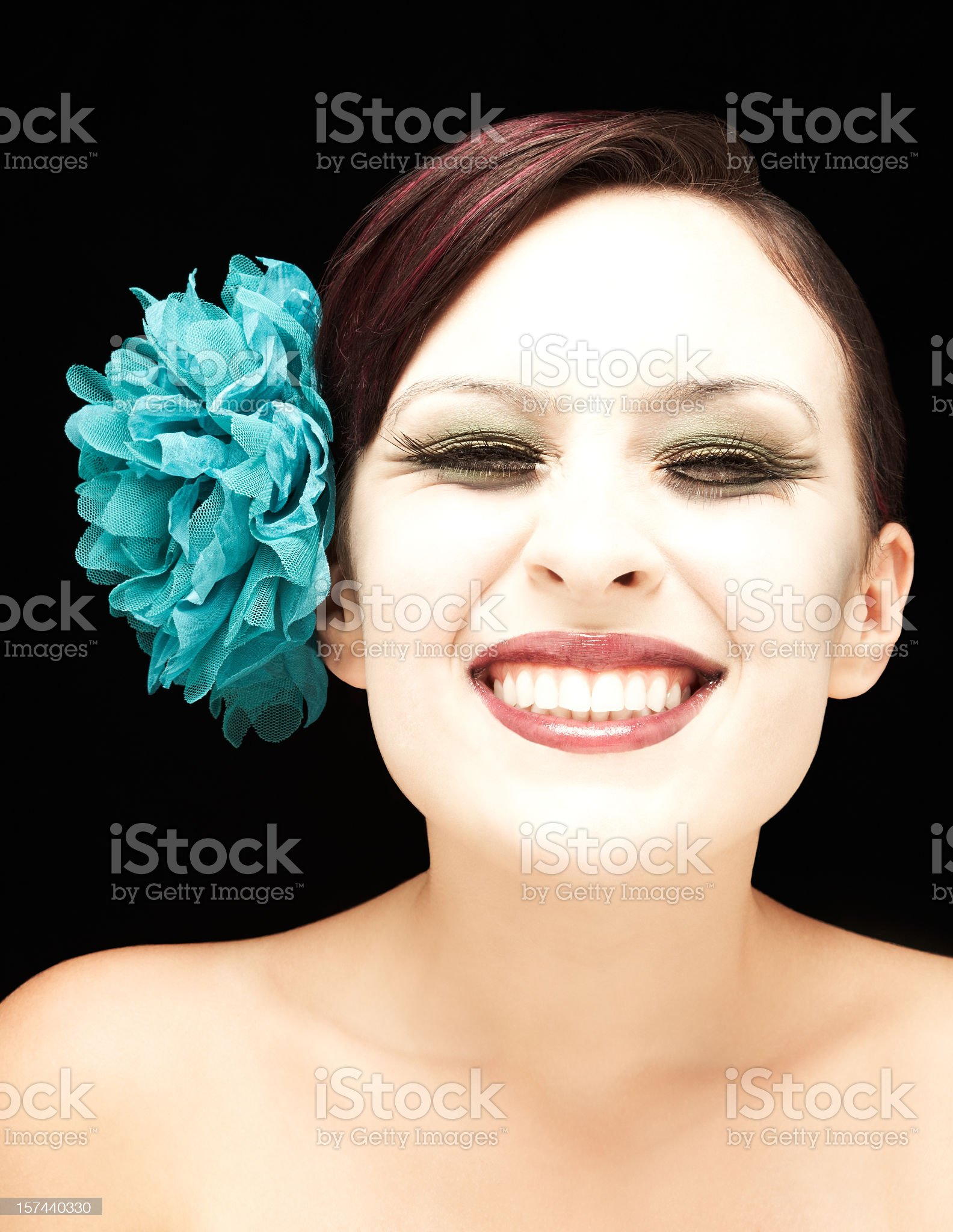 Woman Wearing Large Hair Ornament royalty-free stock photo