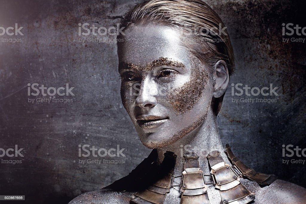 woman wearing luxury necklace stock photo