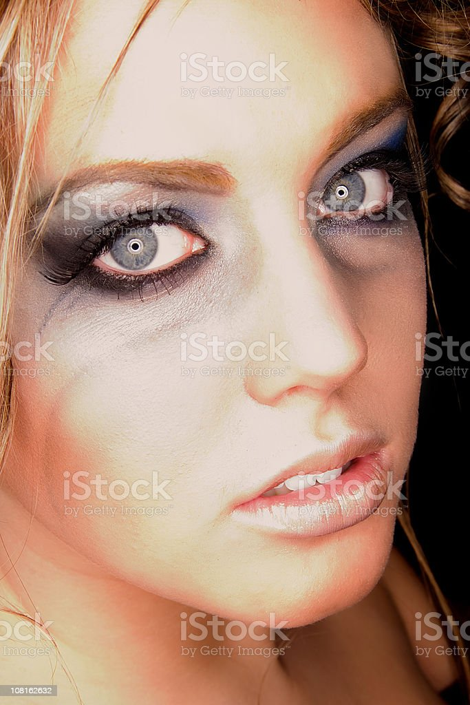 Woman Wearing Make-up on Eyes royalty-free stock photo
