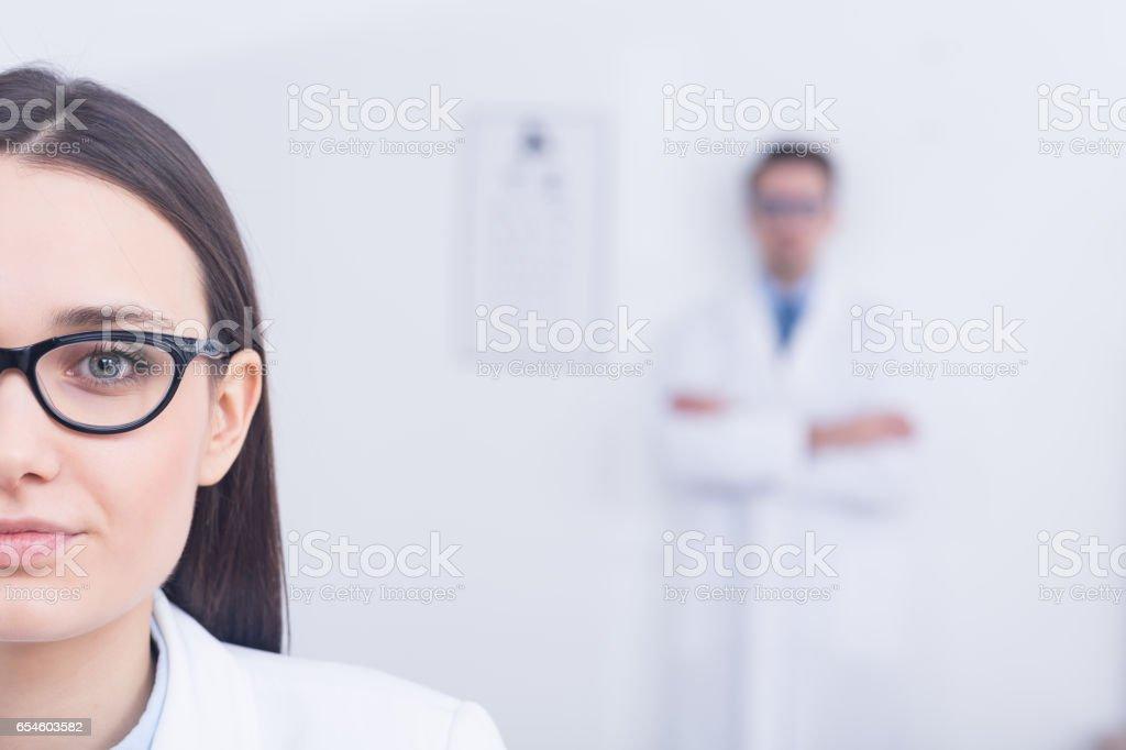 Woman wearing modern eyeglasses stock photo