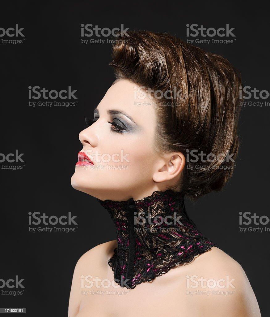 woman wearing neck corset stock photo
