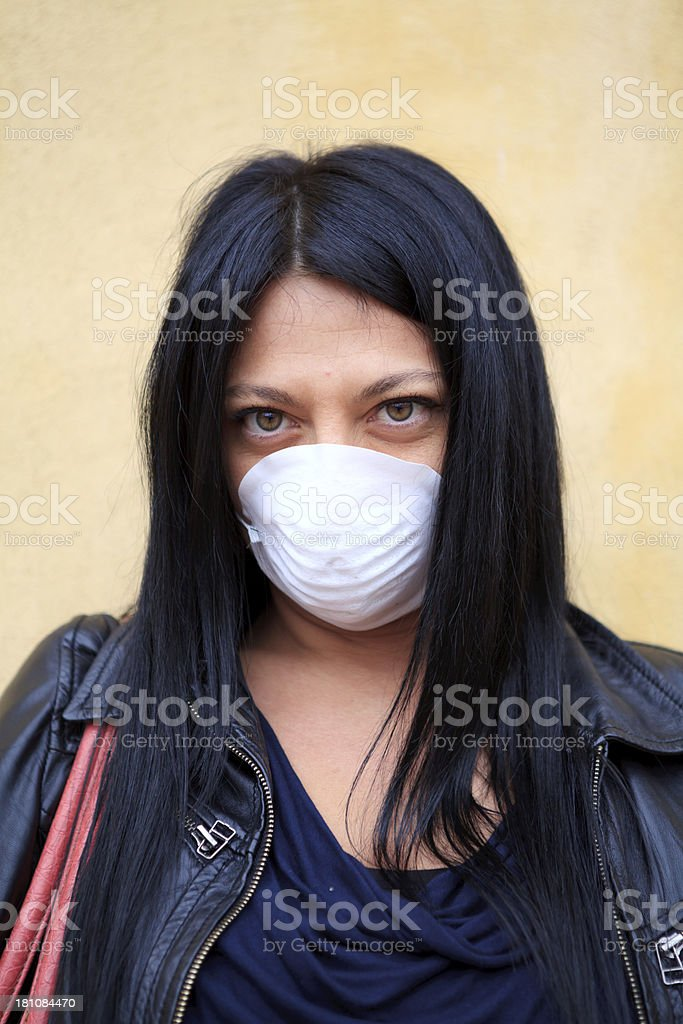 woman wearing protective mask royalty-free stock photo