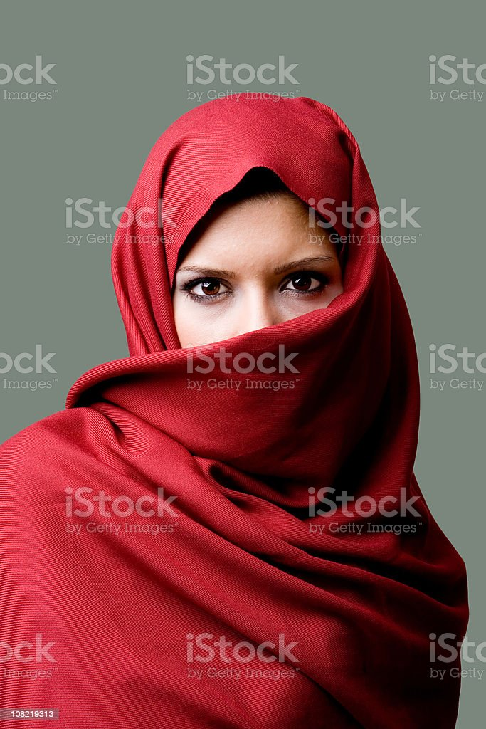 Woman Wearing Red Head Scarf stock photo