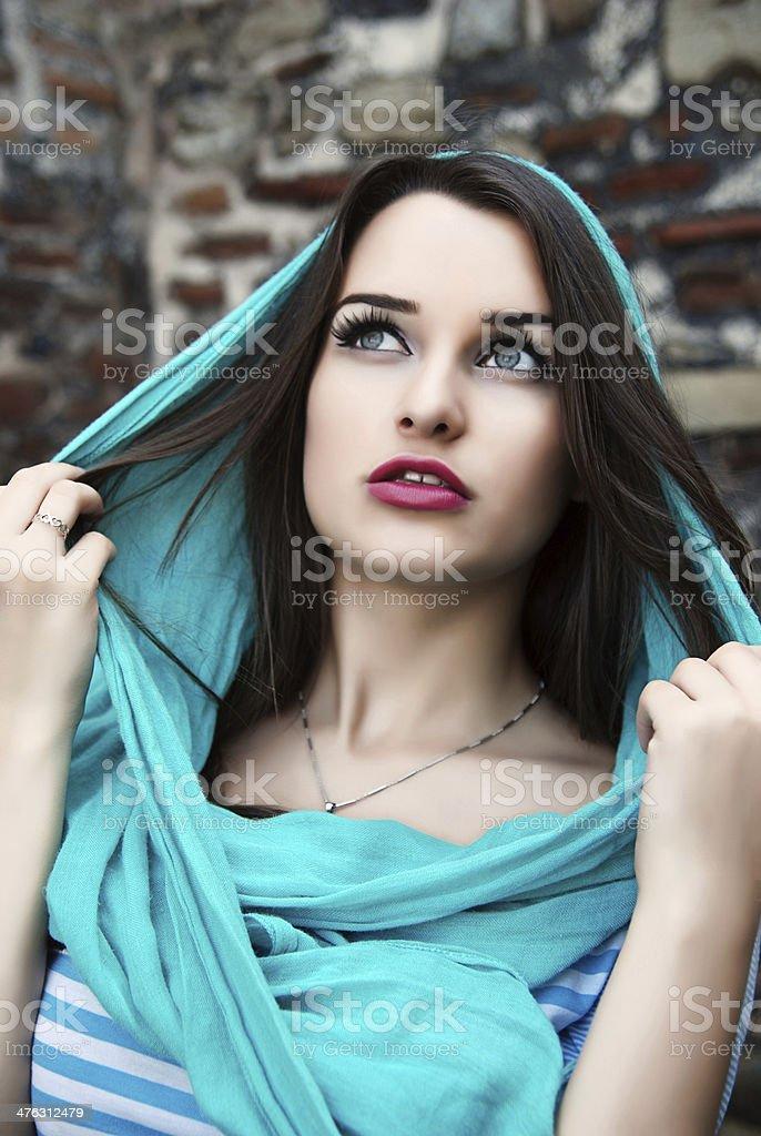 Woman wearing shawl royalty-free stock photo