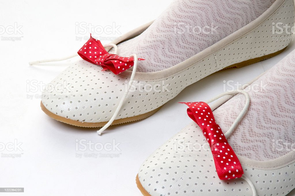 Woman wearing socks with shoes, low section stock photo