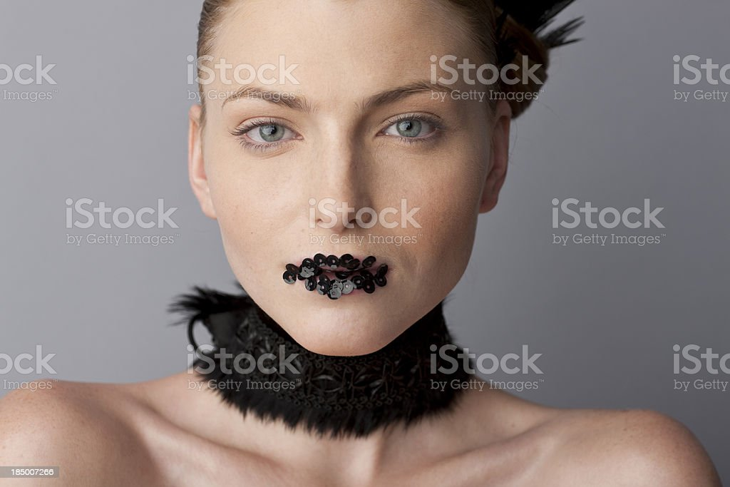 woman wearing spangles or her lips royalty-free stock photo