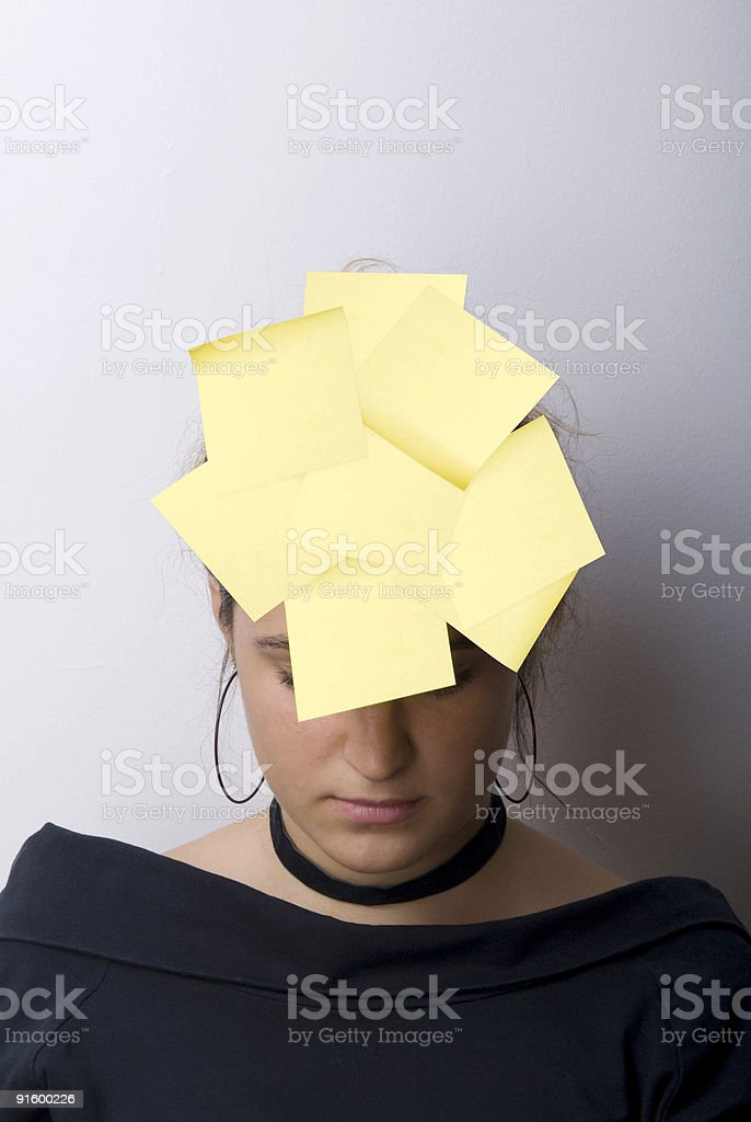 Woman wearing stickies on her forehead, Turkey, Turkish royalty-free stock photo