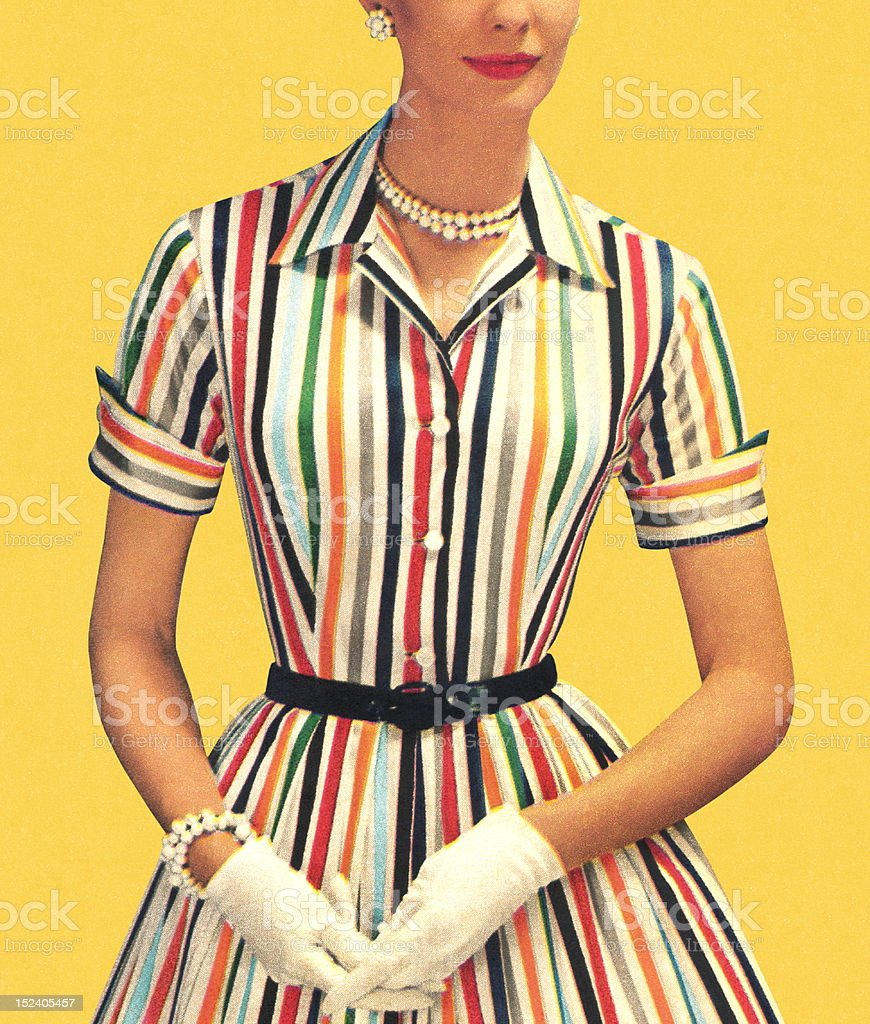 Woman Wearing Striped Dress and White Gloves royalty-free stock photo