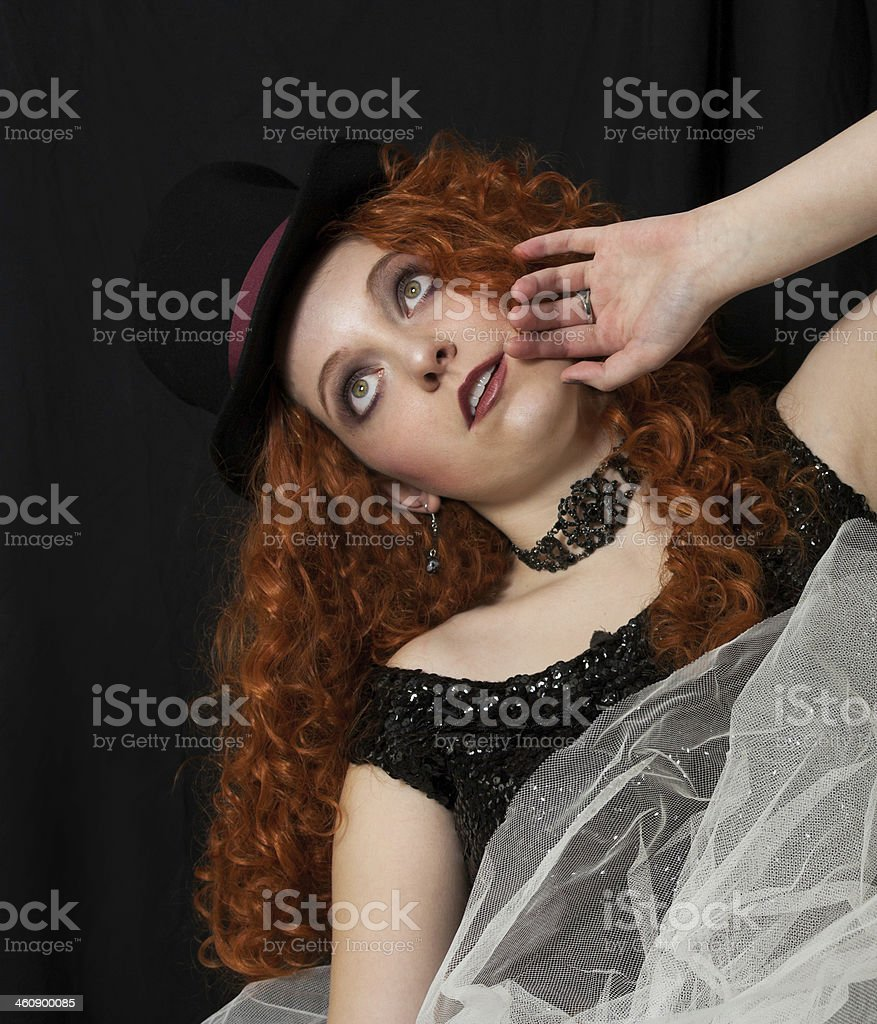 Woman wearing top hat royalty-free stock photo
