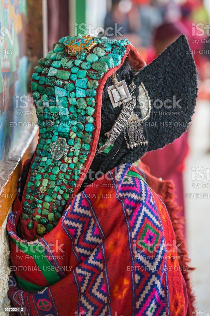 Woman wearing tradition Perak headdress, Ladakh, India stock photo