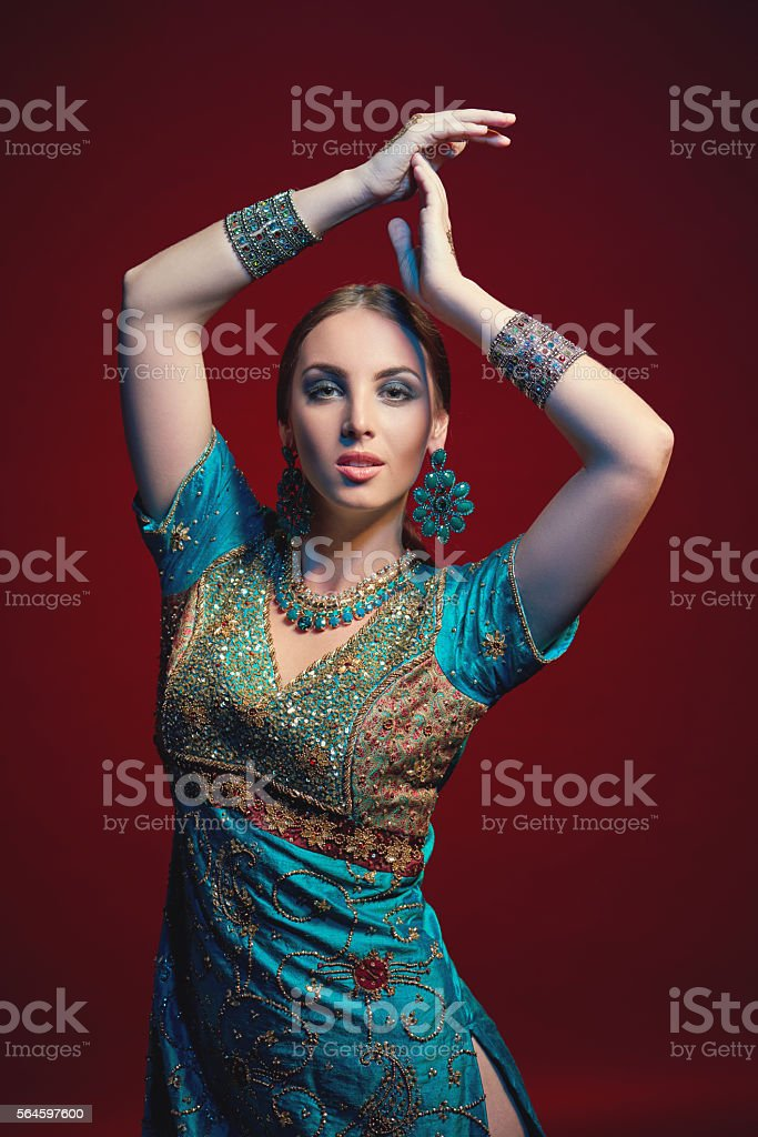 Woman wearing traditional Indian sari stock photo