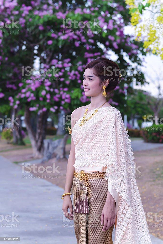 woman wearing typical thai dress stock photo