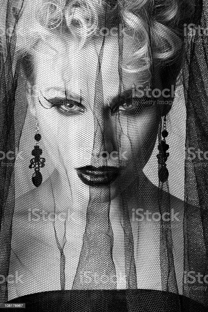 Woman Wearing Veil, Black and White royalty-free stock photo