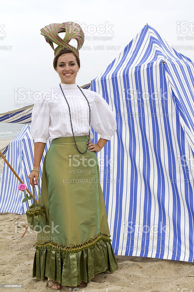 Woman wearing vintage clothes. stock photo