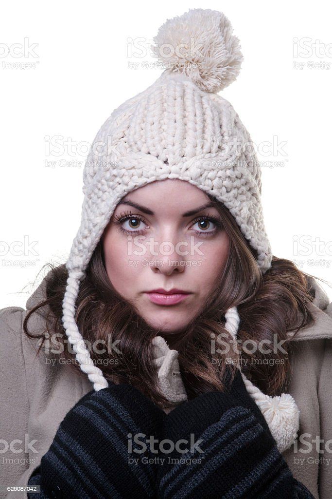 woman wearing winter clothes stock photo
