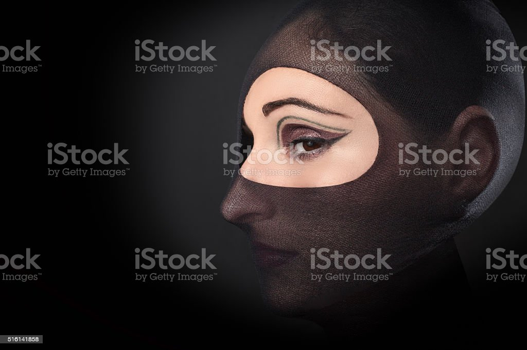 woman wears her tights stock photo