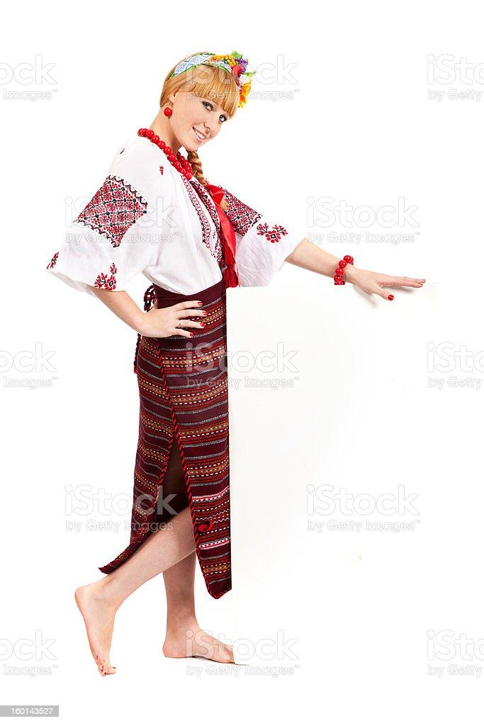 Woman wears Ukrainian national dress royalty-free stock photo