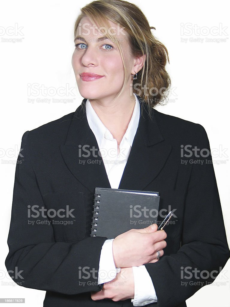 Woman welcoming clients royalty-free stock photo