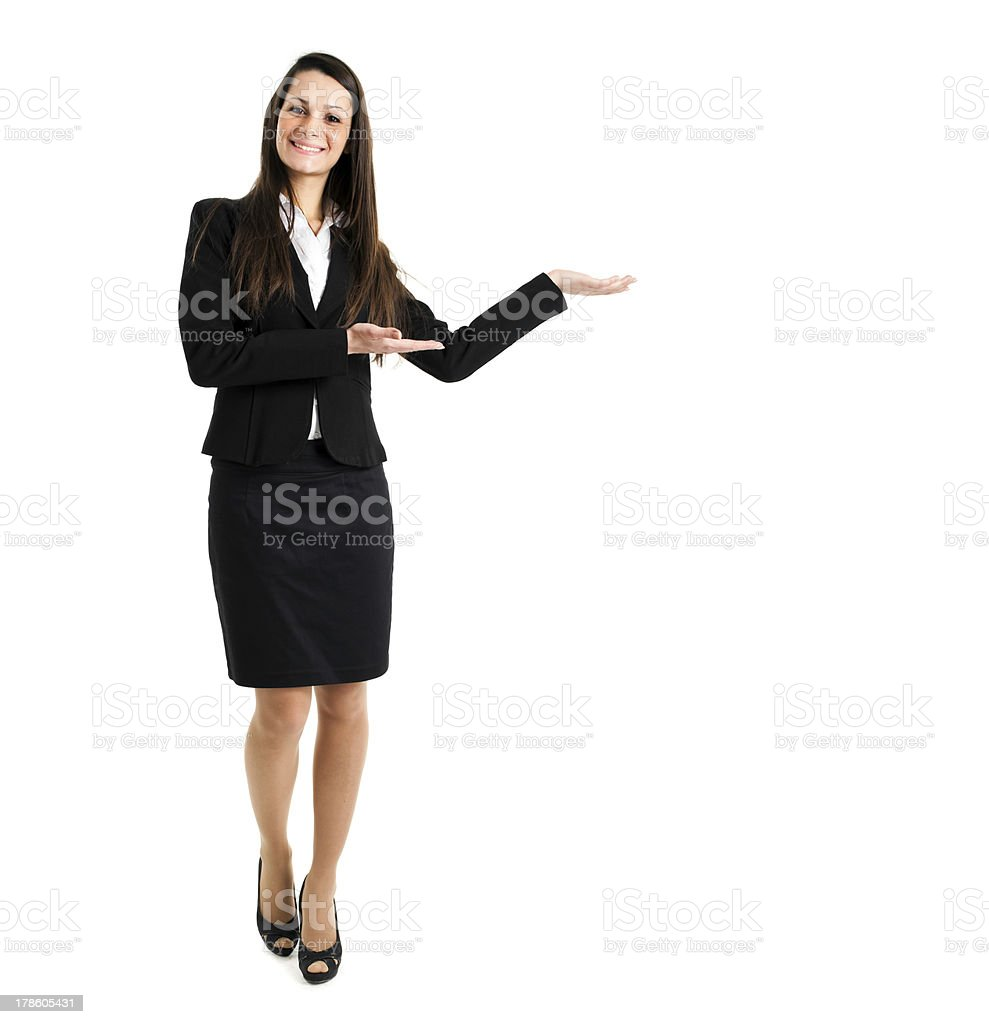 Woman welcoming you royalty-free stock photo