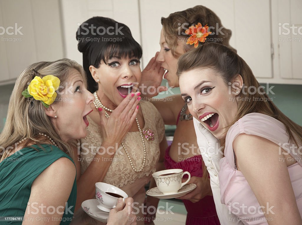 Woman Whispering Secret stock photo