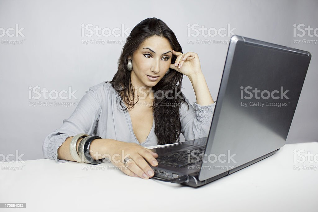 Woman whit laptob stock photo