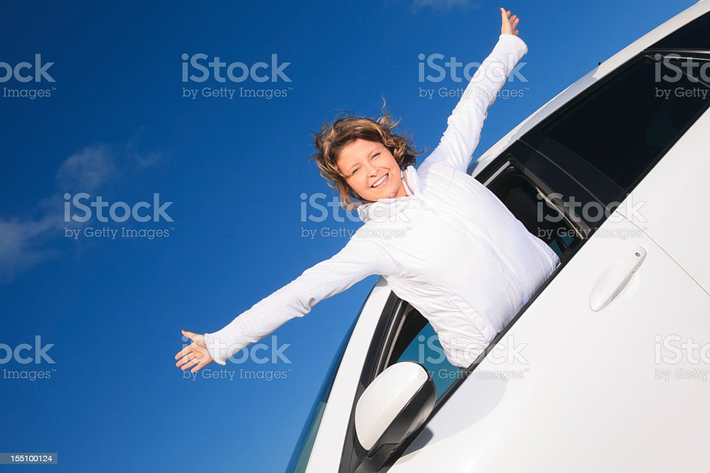 Woman White Car - Flying Over the Sky royalty-free stock photo