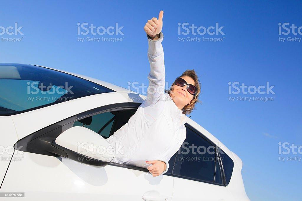 Woman White Car - Half Outside Good royalty-free stock photo