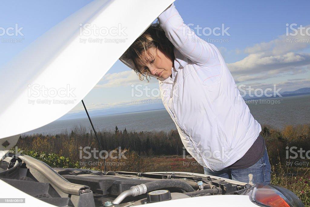 Woman White Car - Motor Problem royalty-free stock photo