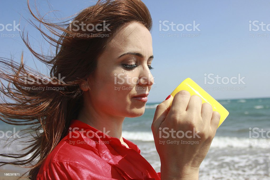 woman who drinks water royalty-free stock photo