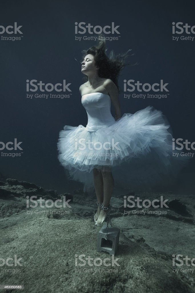 Woman who drowned underwater stock photo