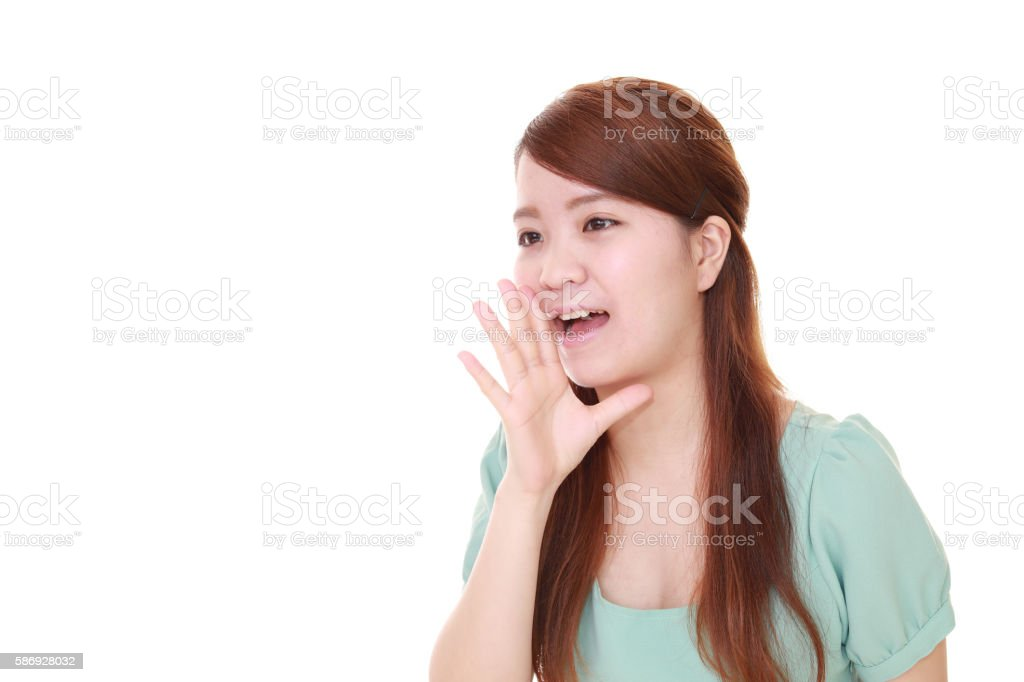 Woman who is cheering stock photo