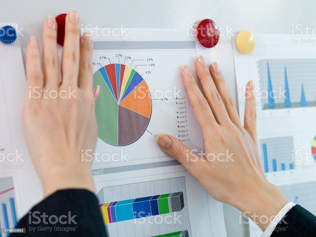 Woman who sticks meeting materials on a white board royalty-free stock photo