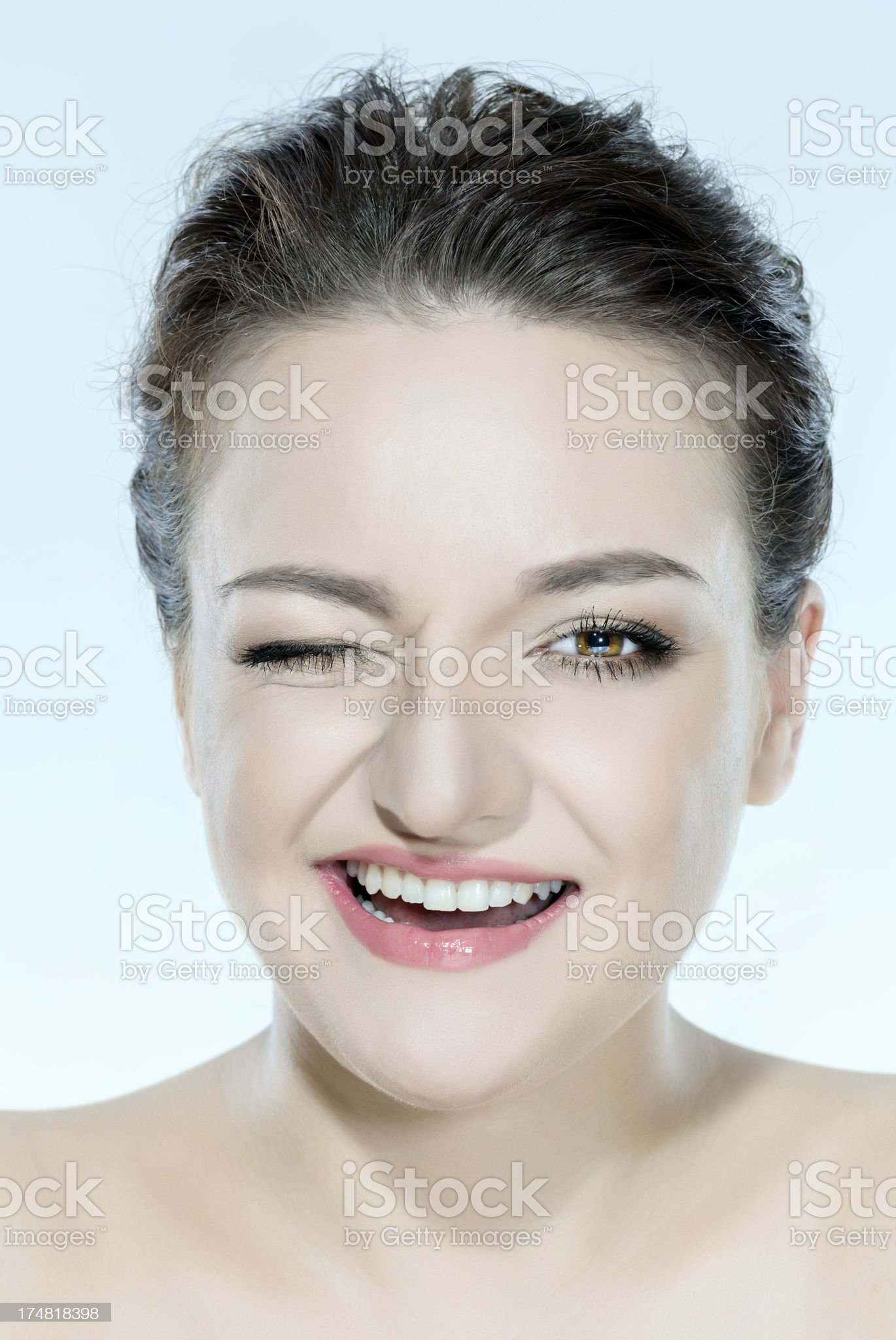 woman winking royalty-free stock photo