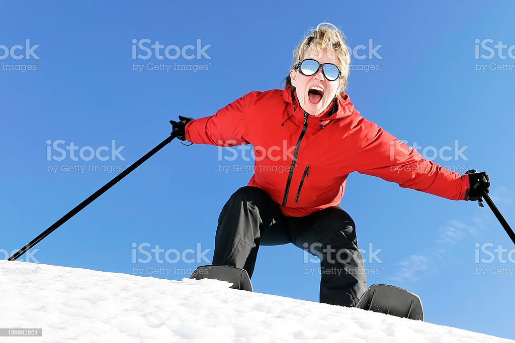 woman winter hiking royalty-free stock photo