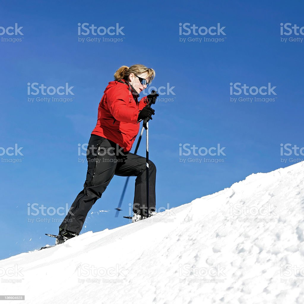 woman winter hiking royalty-free stock photo