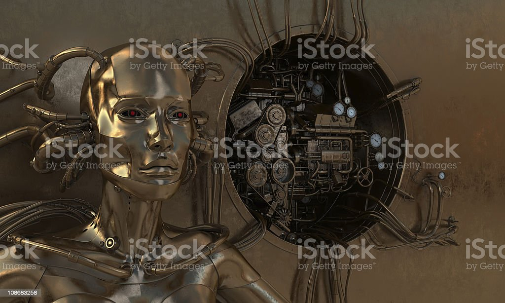 Woman wired with gear royalty-free stock photo