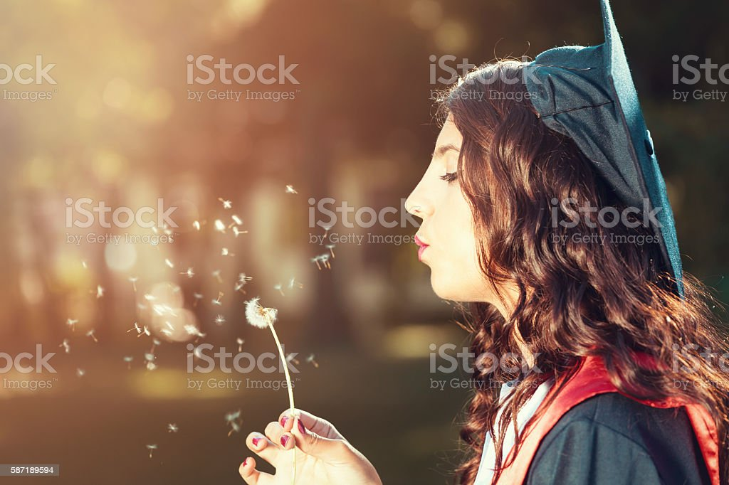 Woman Wishes stock photo