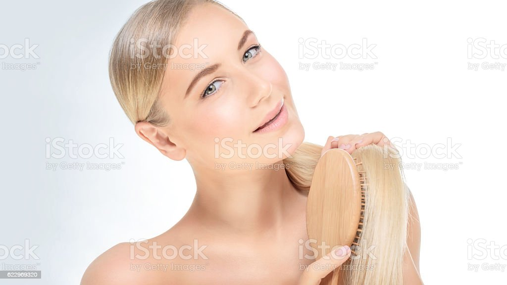Woman with a beautiful healthy hair stock photo