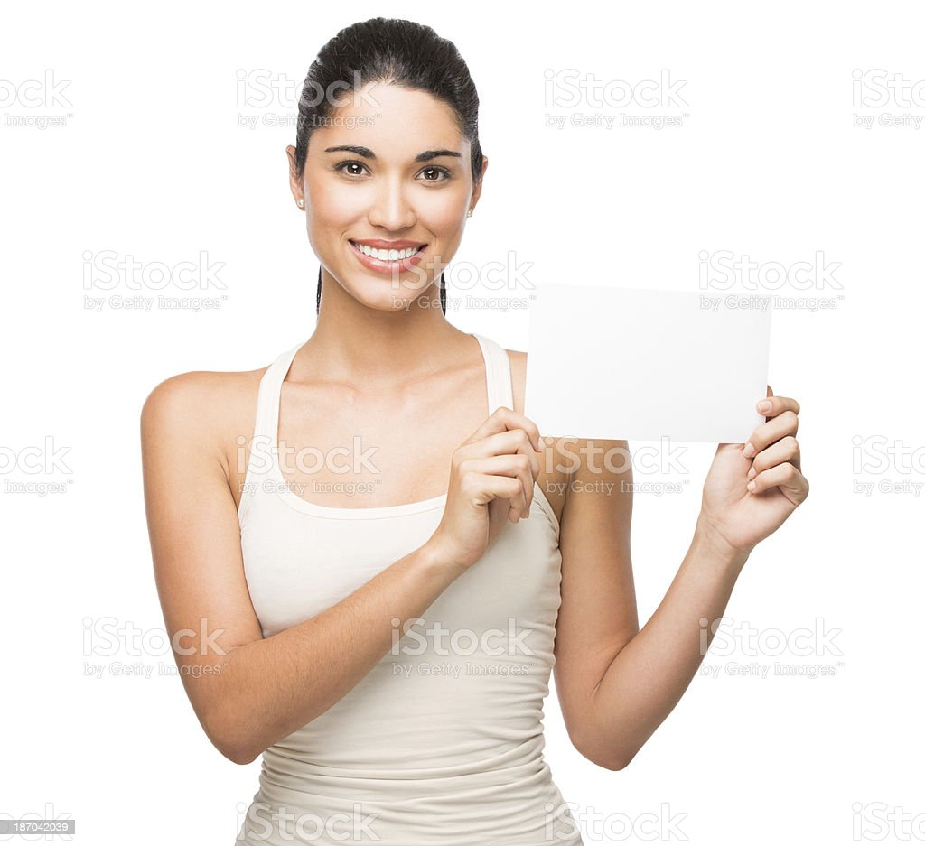 Woman with a blank card royalty-free stock photo