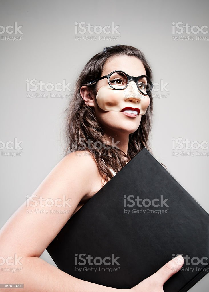 woman with a book stock photo