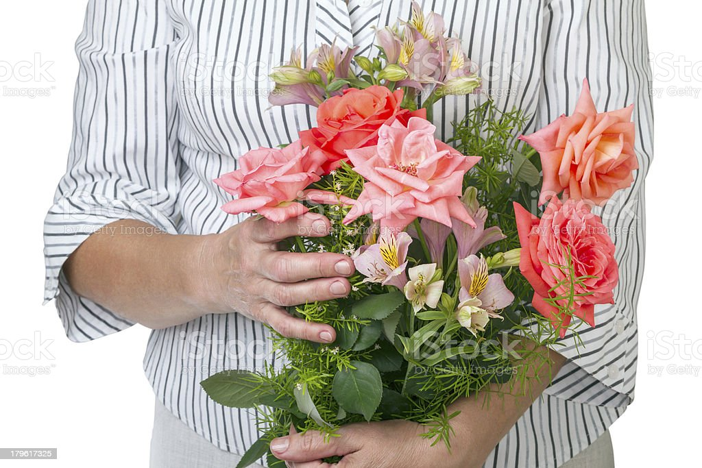 Woman with a bouquet of beautiful flowers royalty-free stock photo