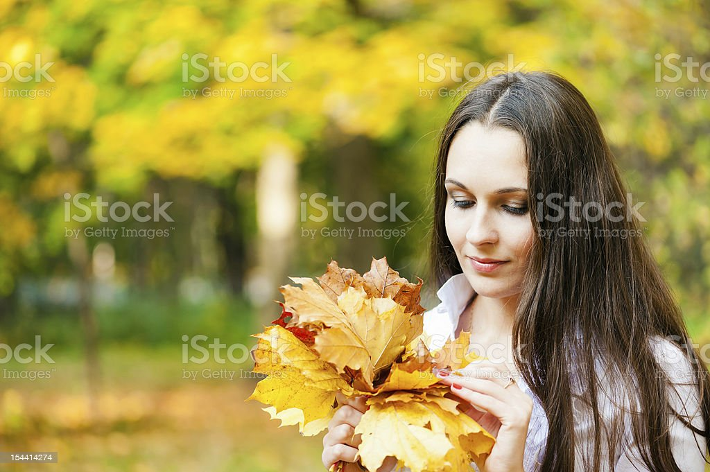 woman with a bouquet royalty-free stock photo