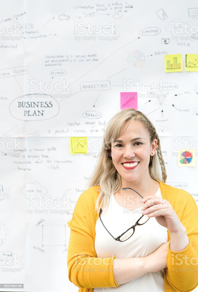 Woman with a business plan stock photo