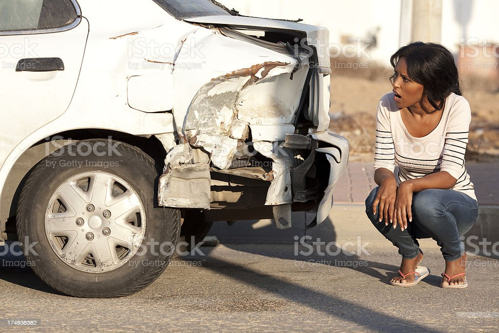 Woman with a car problem. stock photo
