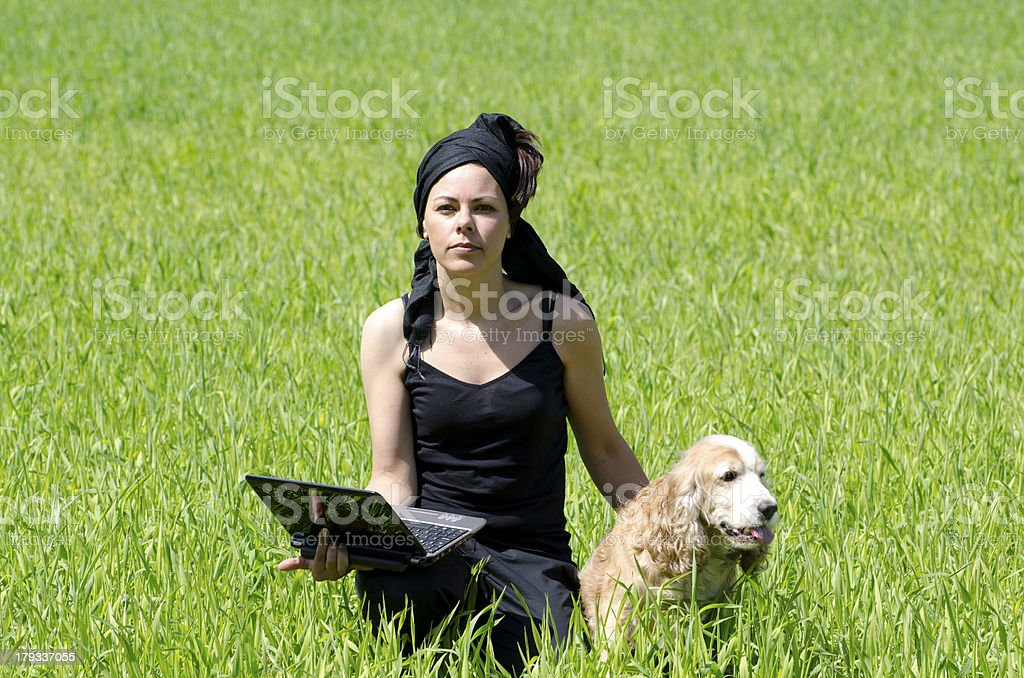 Woman with a computer royalty-free stock photo