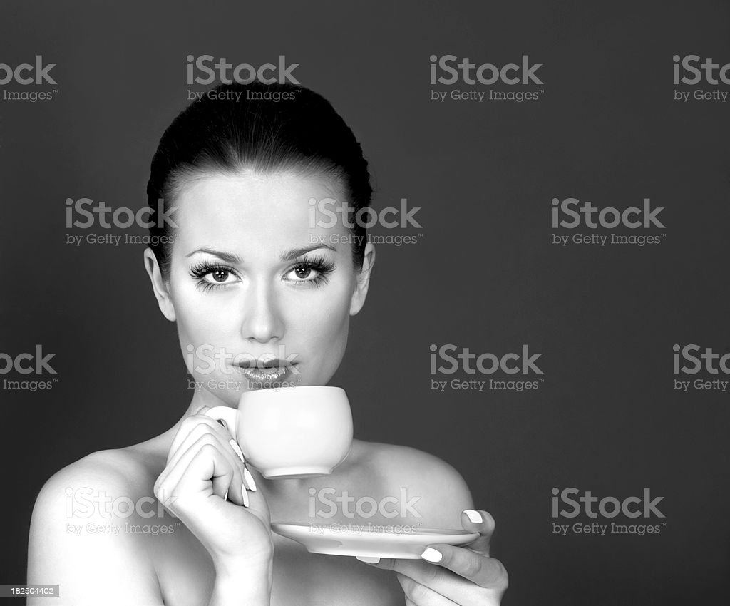 Woman with a cup of tea royalty-free stock photo
