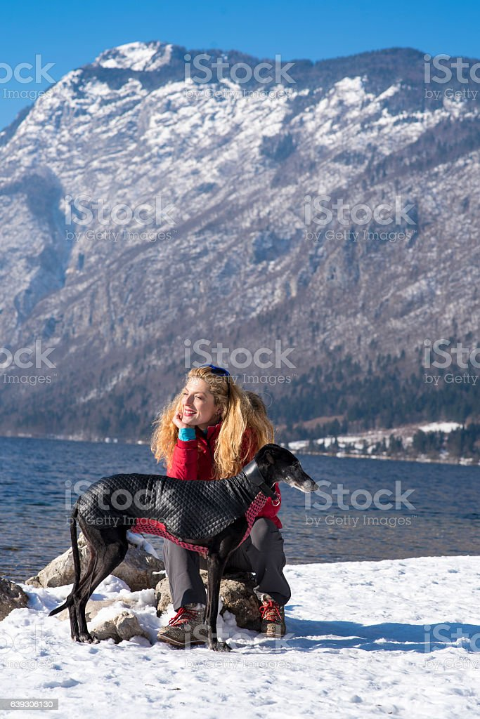 Woman with a dog stock photo
