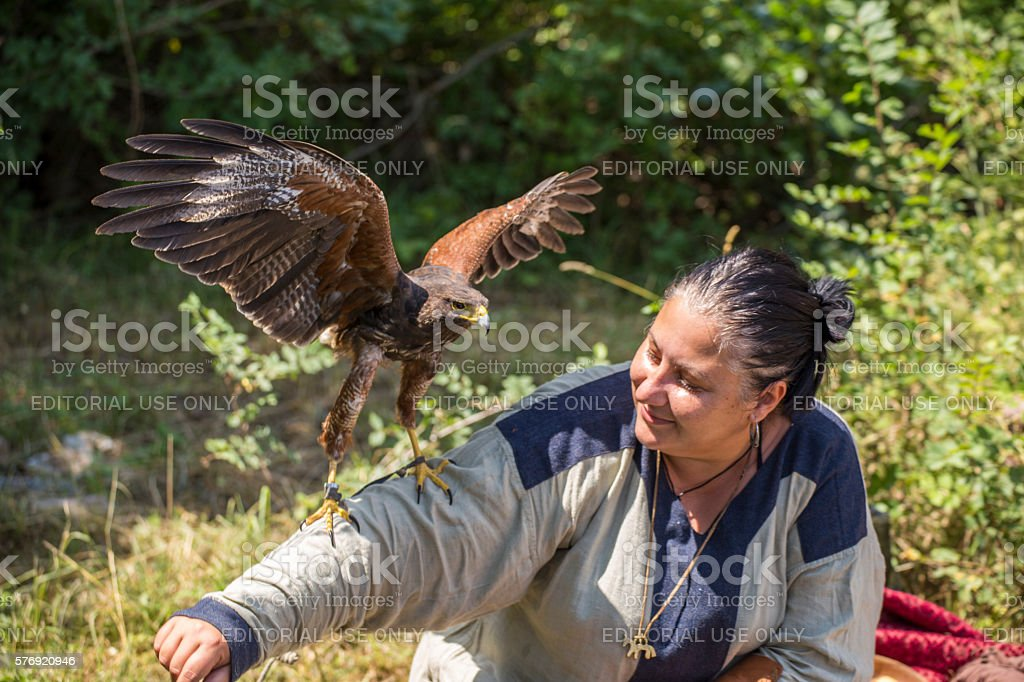 Woman with a falcon stock photo