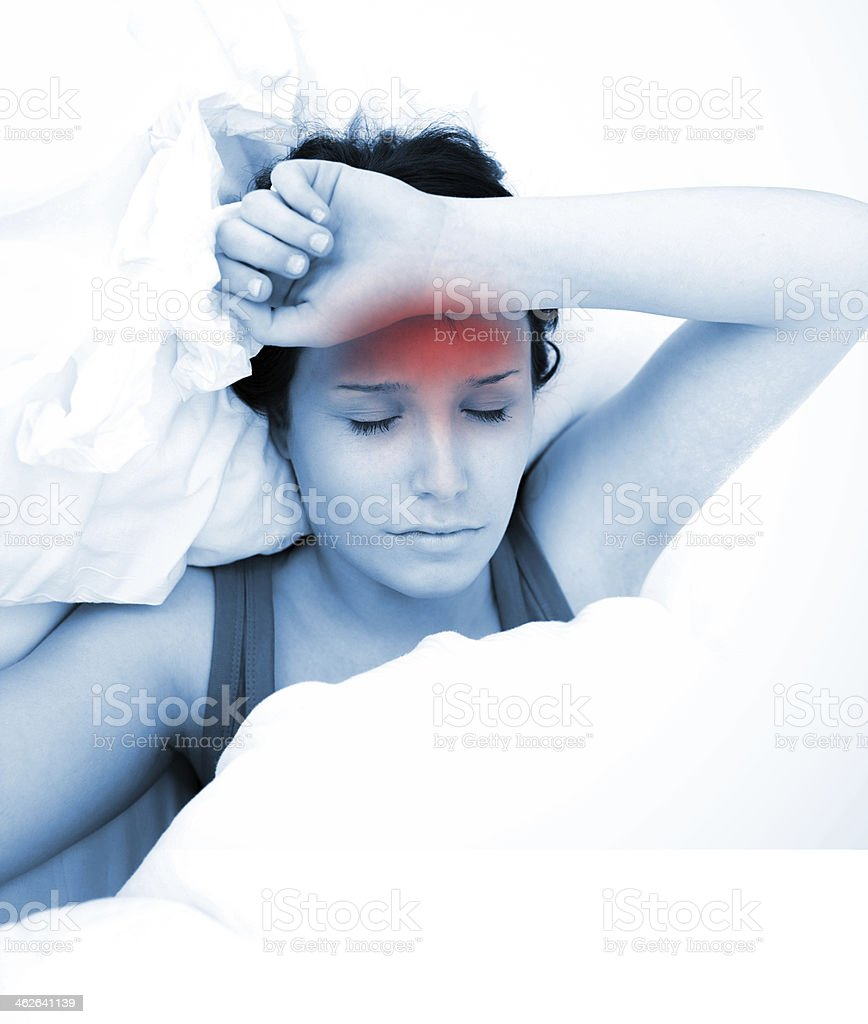 Woman with a fever stock photo
