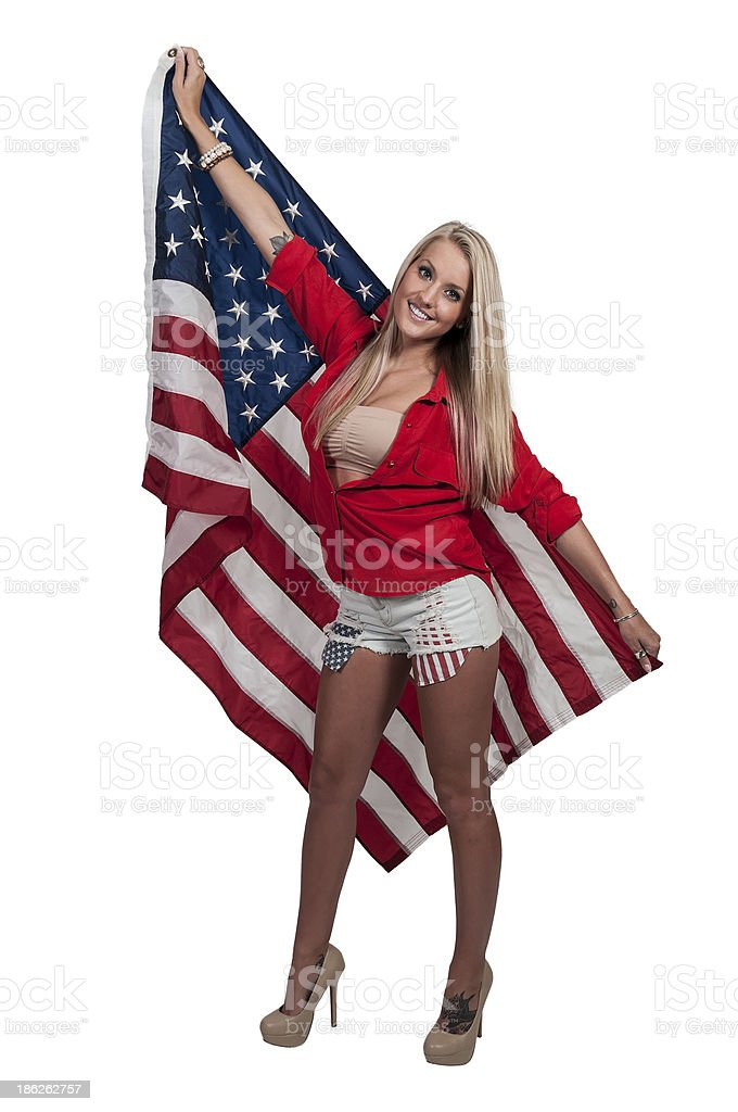 Woman with a Flag stock photo